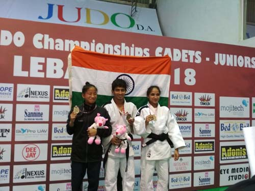 Medal winners of Indian Cadet Team in Asian Cadet - Lebanon. Ms. Tababi Devi ( Gold ), Mr. Harish ( Bronze ) and Ms. Rohini Mohite ( Gold )